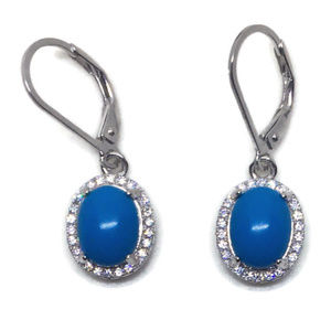 white gold on silver dangle earring blue stone